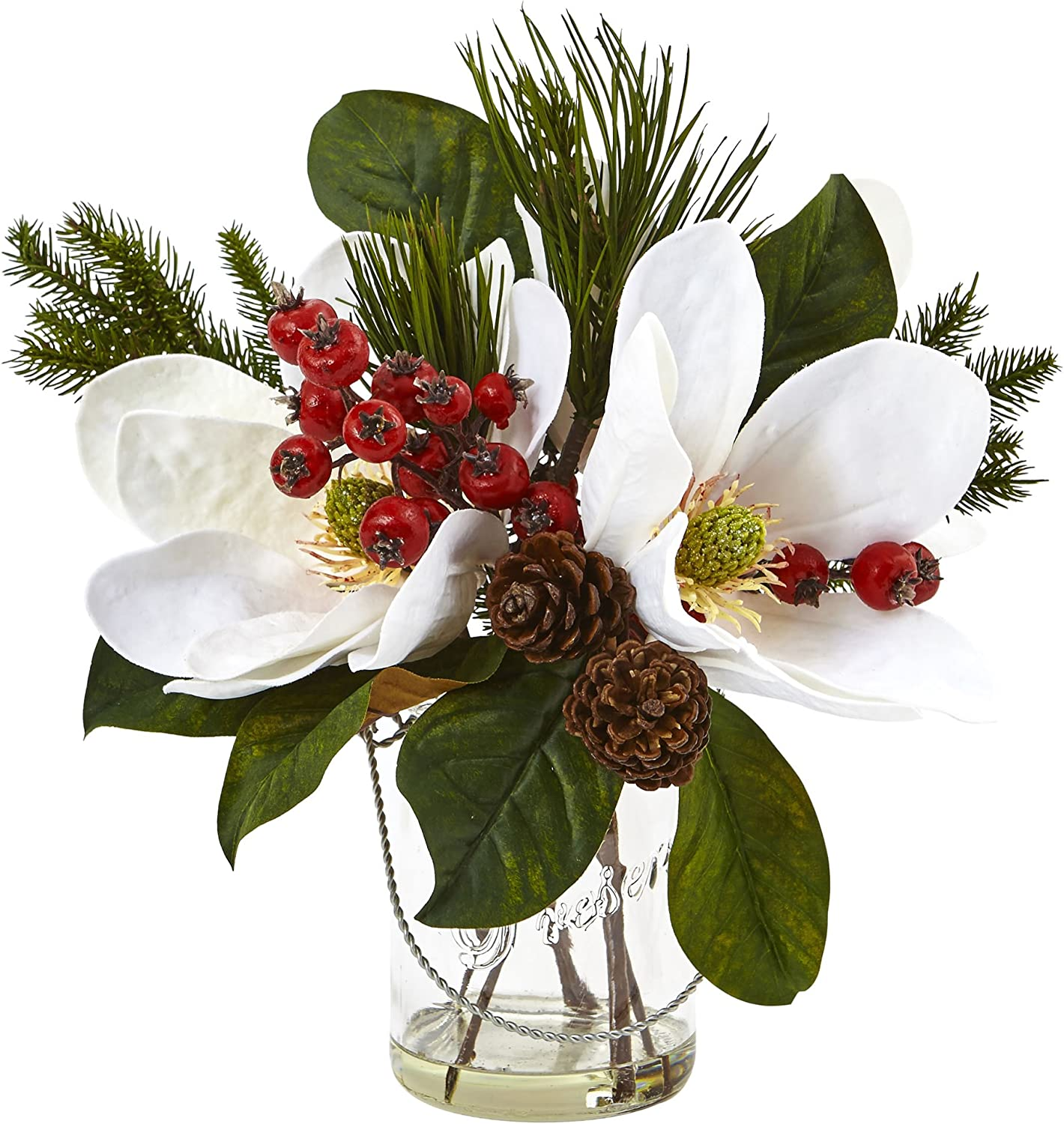 Amazon Com Nearly Natural 4548 Magnolia Pine And Berry Holiday Arrangement In Glass Vase Home Kitchen
