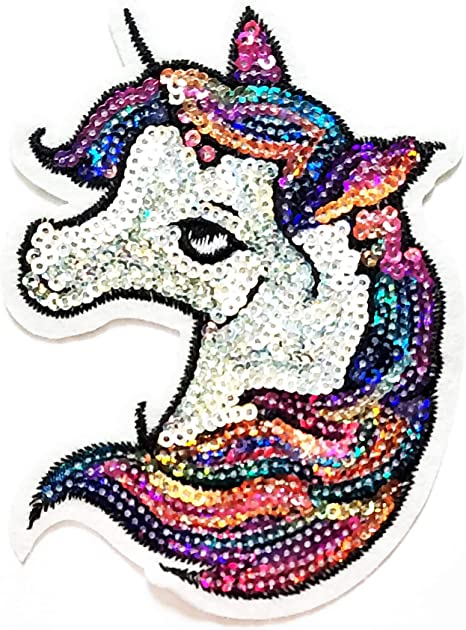 Large Sequin Colorful Unicorn Embroidered Iron on Fashion Patch DIY Shirt Jacket