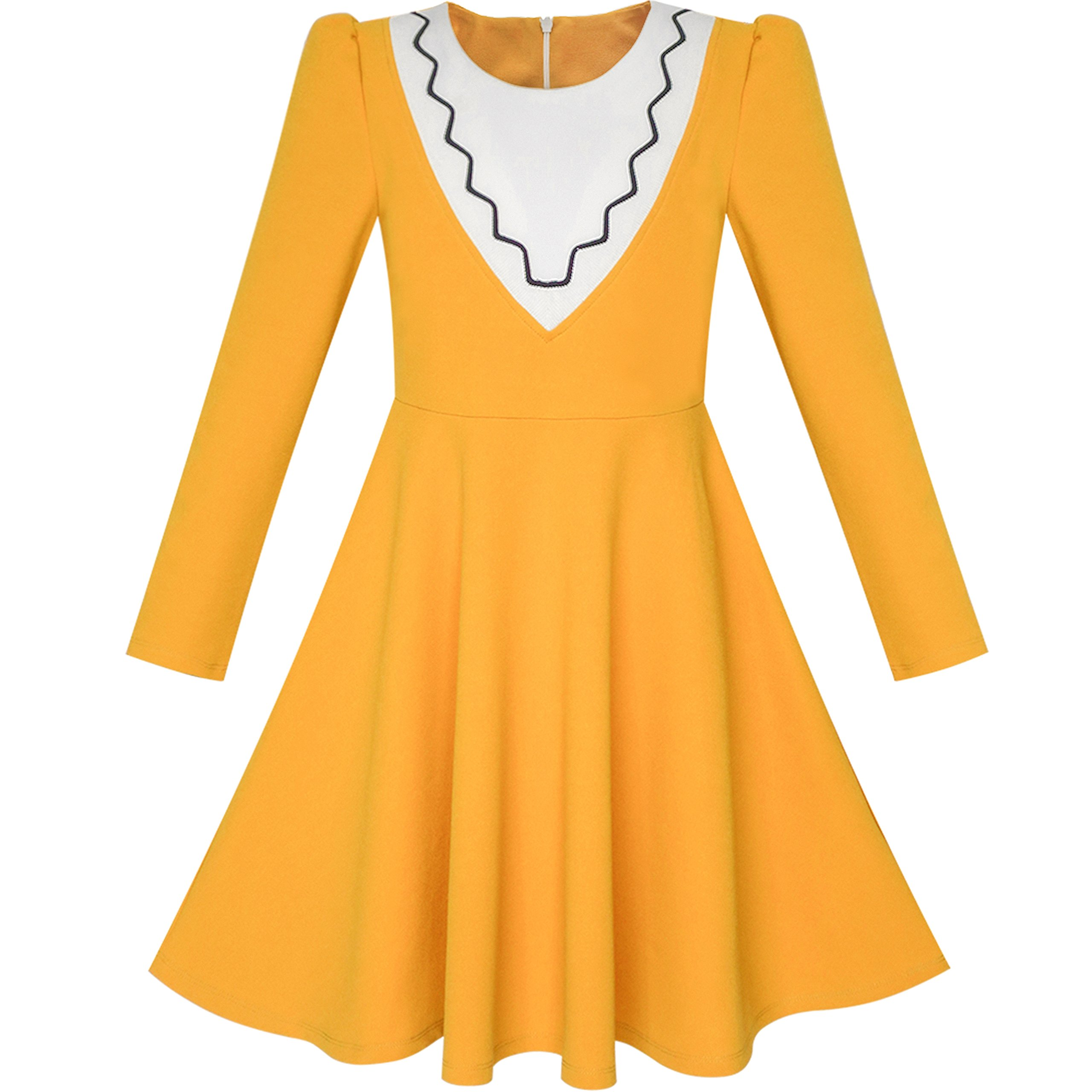 Sunny Fashion LH65 Girls Dress Back School Long Sleeve Yellow Dress Size 12