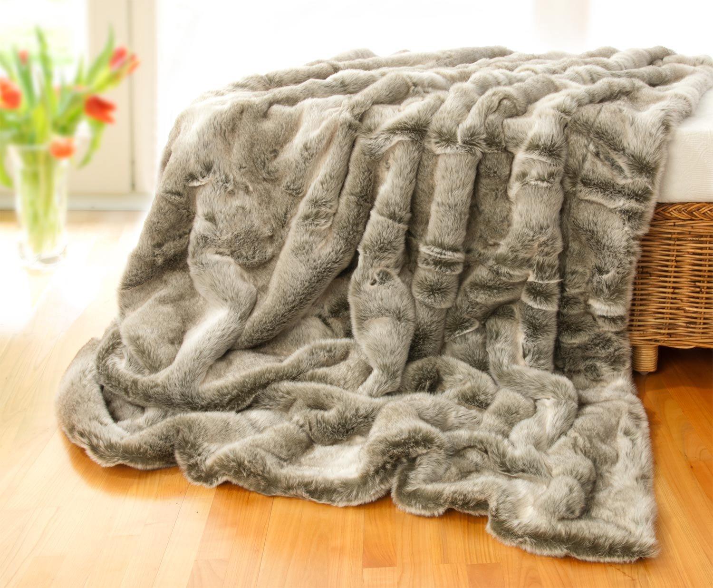 Felldecken Wohnen & Accessoires Sehr große Tagesdecke, Webpelzdecke Grauwolf grau-beige 240x260cm
