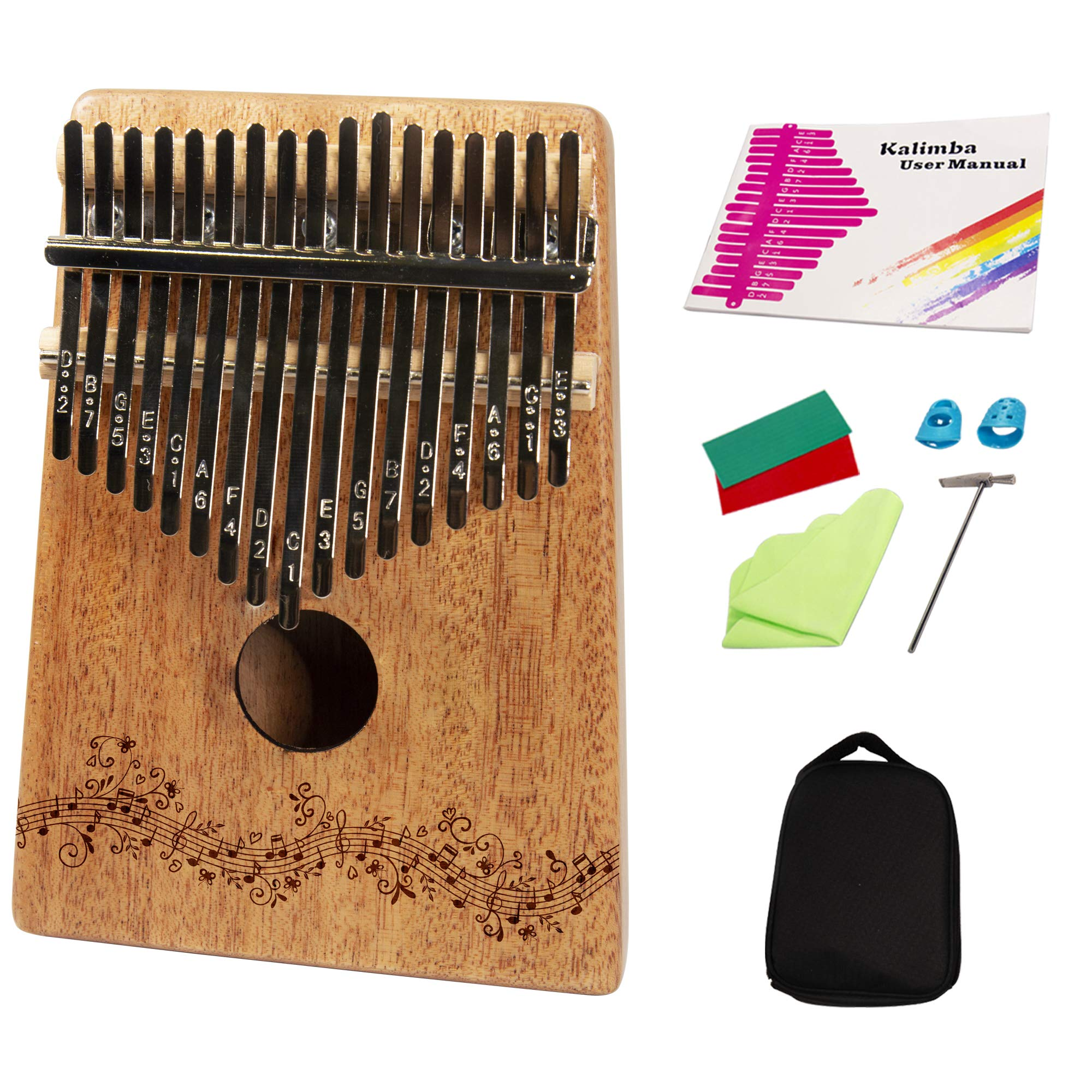 Kalimba Wooden Thumb Piano by Upside Products - 17 engraved key with protective case, beginners instruction book, tuning hammer, cleaning cloth, thumb protectors. Portable, easy learn relaxing gift
