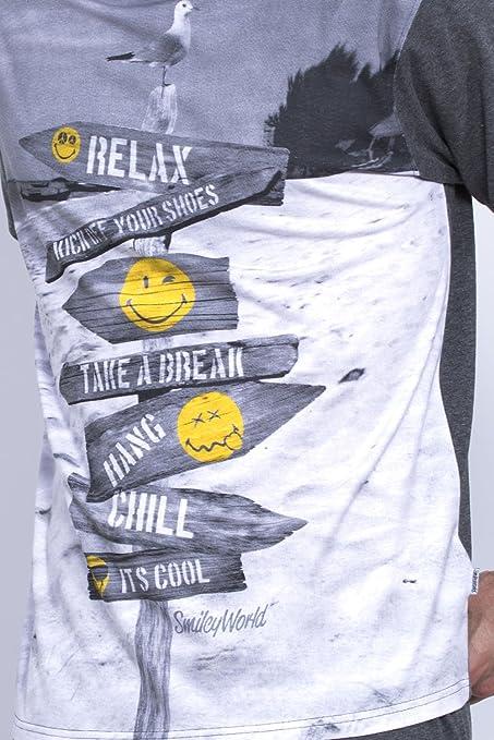 Pijama Manga Corta Hombre Smiley Relax, Color Gris, Talla Xxl: Amazon.es: Ropa y accesorios