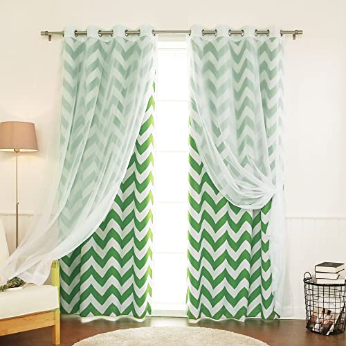 Best Home Fashion uMIXm Mix and Match Voile Sheer and Room Darkening Chevron Print 4 Piece Curtain Set Grommet Top Green