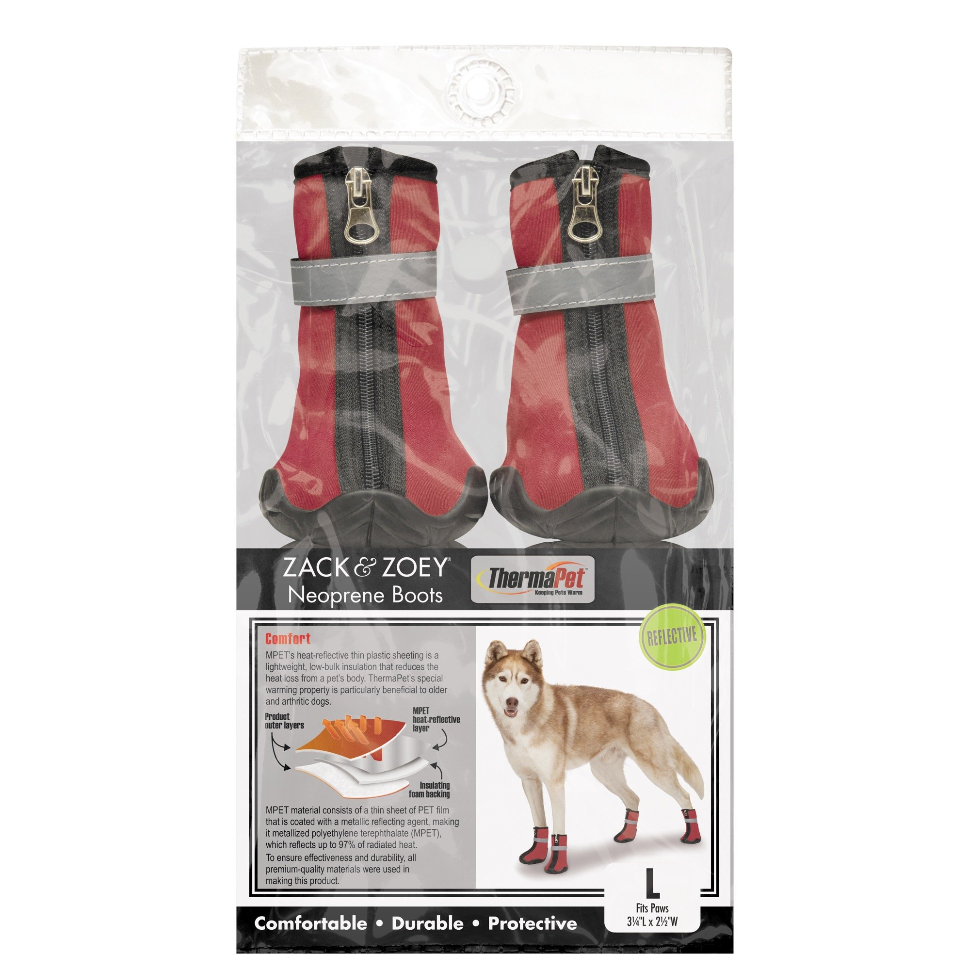 Zack & Zoey ThermaPet Neoprene Boots, Red, XX-Small by Zack & Zoey
