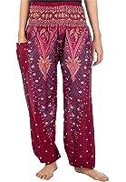 Lofbaz Damen Haremshose mit gesmoktem Bund Pfauendruck Blumenmuster