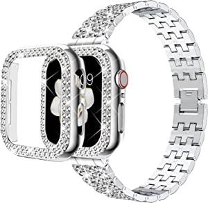 DABAOZA Compatible Apple Watch Band 38mm with Case, Bling Women Girl Dressy Full Sparkling Diamonds Band with Shiny Protective Bling Bumper Frame Cover for iWatch Series 3/2/1 (Silver, 38mm)