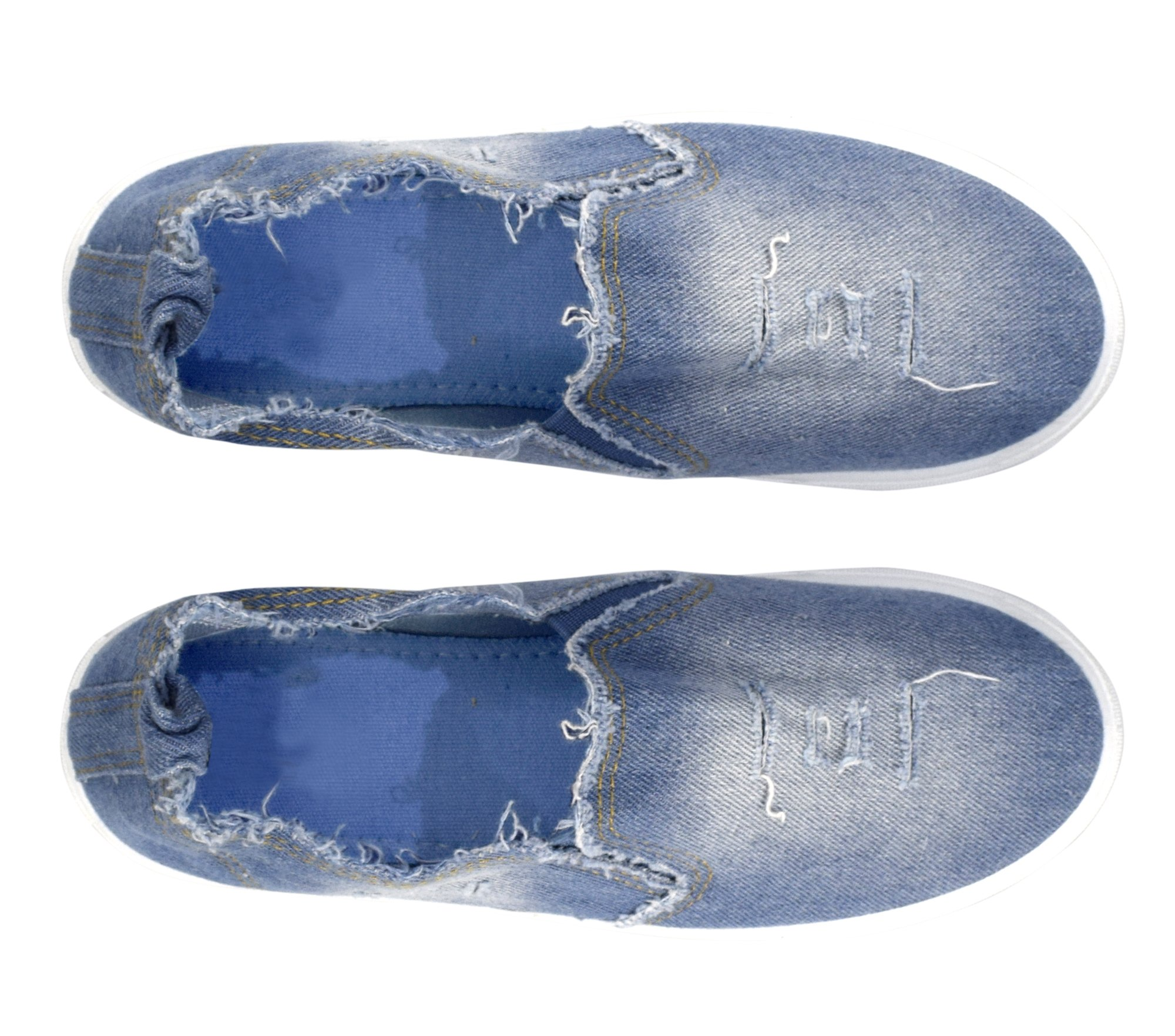 Peach Couture Womens Fashion Distressed Denim Casual Shoes Slip On Sneakers (L Blue 8) by Peach Couture (Image #2)