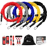 POLYGON Resistance Bands Set, Upgraded Resistance Tubes with Anti-Snap Heavy Duty Protective Nylon Sleeves, Include 5 Stackable Exercise Bands, 2 Door Anchors, 2 Legs Ankle Straps, 2 Foam Handles