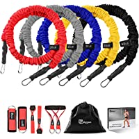 Resistance Bands Set, Polygon Upgraded Resistance Tubes with Anti-Snap Heavy Duty Protective Sleeves, Include 5 Stackable Exercise Bands, Door Anchor, Legs Ankle Strap, Foam Handle