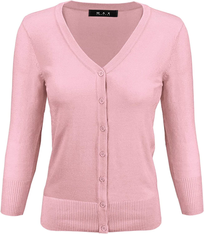 YEMAK Women's 3/4 Sleeve V-Neck Basic Button Down Knit Cardigan Sweater