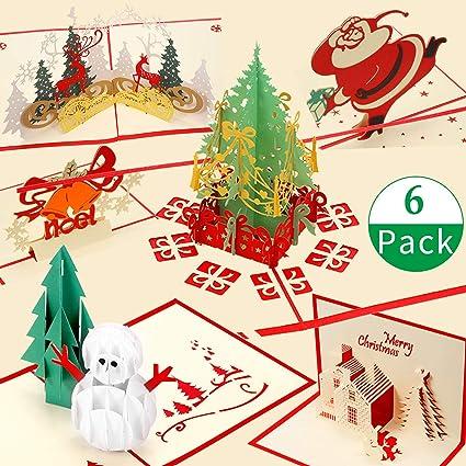 6 Piezas Tarjetas de Regalo de Saltar Tarjetas 3D de Navidad ...