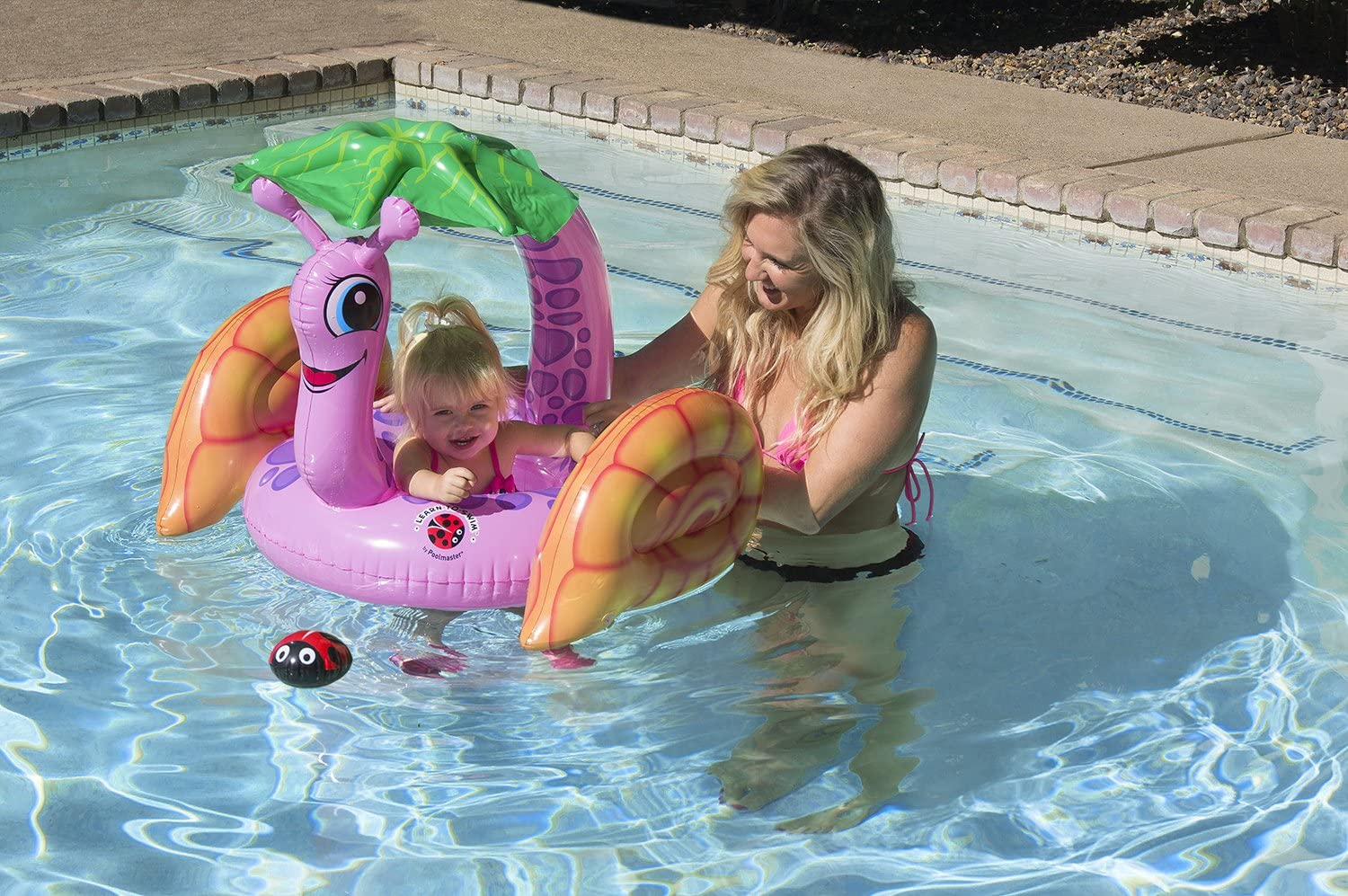 Poolmaster 81562 Learn-to-Swim Swimming Pool Float Baby Rider with Sun Protection, Snail