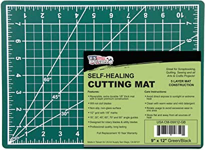 """U.S. Art Supply 9"""" x 12"""" Green/Black Professional Self Healing 5-Ply Double Sided Durable Non-Slip PVC Cutting Mat Great for Scrapbooking, Quilting, Sewing and All Arts & Crafts Projects"""