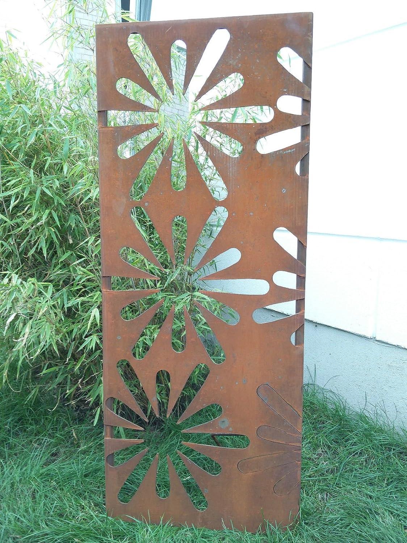 Zen Man Garten Sichtschutzwand Rost aus Metall Sichtschutz Edelrost Gartendeko B75H150cm 1mm
