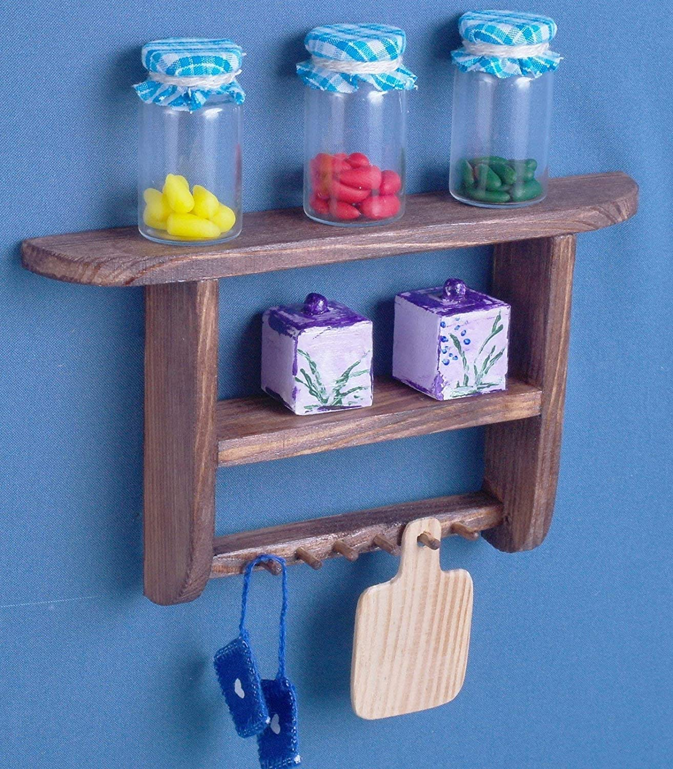 Kitchen wall shelf Dollhouse wooden furniture 1:6 scale dolls 12' for Barbie Blythe miniature accessories role-playing games bookshelf flowers shelf