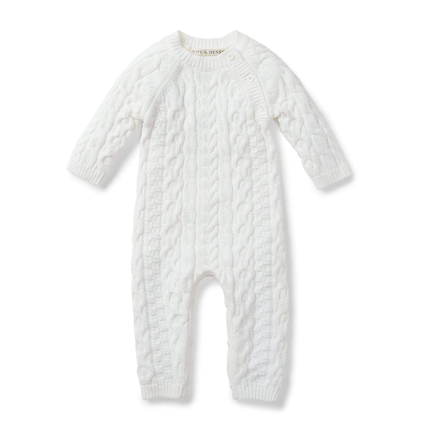 Amazon.com: Hope & Henry Layette White Cable Knit Sweater Romper ...