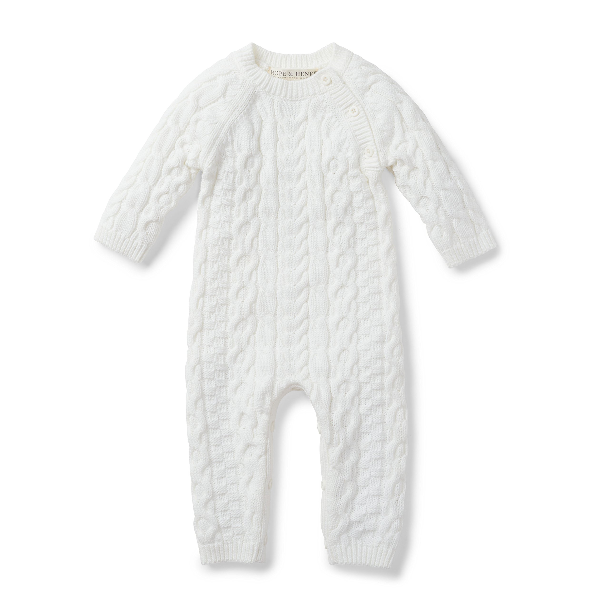 Hope & Henry Layette White Cable Knit Sweater Romper Made with Organic Cotton