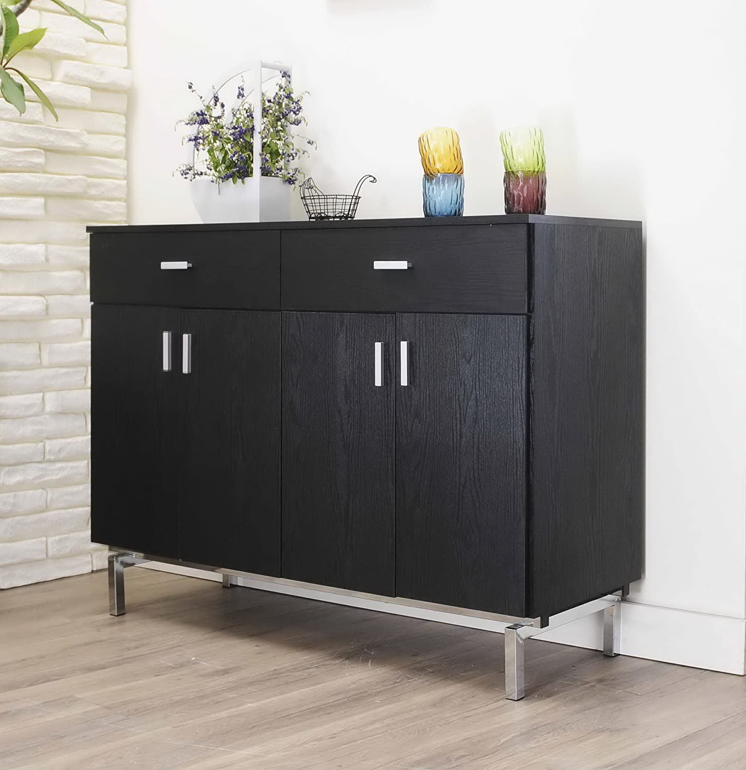 Charmant Amazon.com   IoHOMES Knox 2 Doors Buffet, Black   Kitchen Islands U0026 Carts