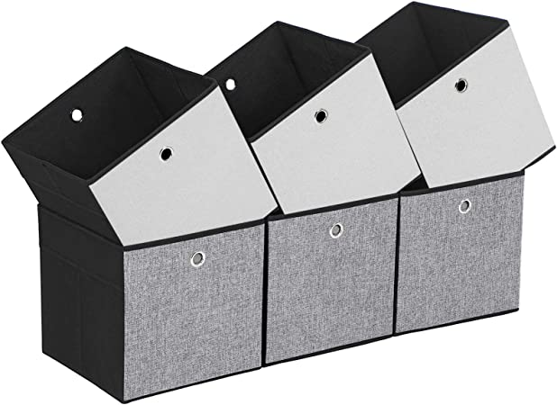 Songmics 6er Set Aufbewahrungsbox Seiten Weiss Grau Und Schwarz Faltbare Stoffbox Fur Kleidung Faltbox Spielzeug Organizer 30 X 30 X 30 Cm Rob30wb Amazon De Kuche Haushalt
