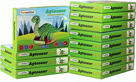 Funvention- for Little Scientist in Every Kid Aptosaur 3D Puzzle Model Kit - Pack of 10