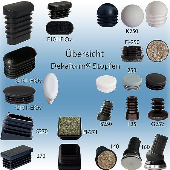 Fussstopfen 30 x 15mm Ellipse schwarz gewölbt Rohrstopfen Fusskappen oval Stuhl