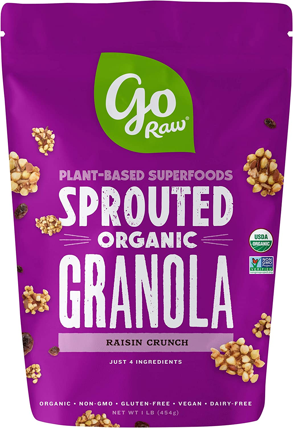 Go Raw 100% Organic Live Granola Cereal, 1 Pound Bags (Pack of 2 ...