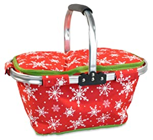 """DII Christmas Holiday Insulated Casserole Carrier, 10x16x3"""", Perfect for Holidays, BBQ's, Potlucks, Parties, To Go Lunches, Craft/Dish Storage & Monogramming-Snowflakes"""