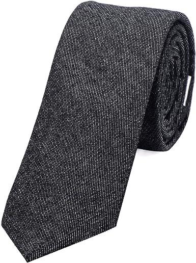 DonDon Corbata estrecha de algodón para hombres de 6 cm con look ...