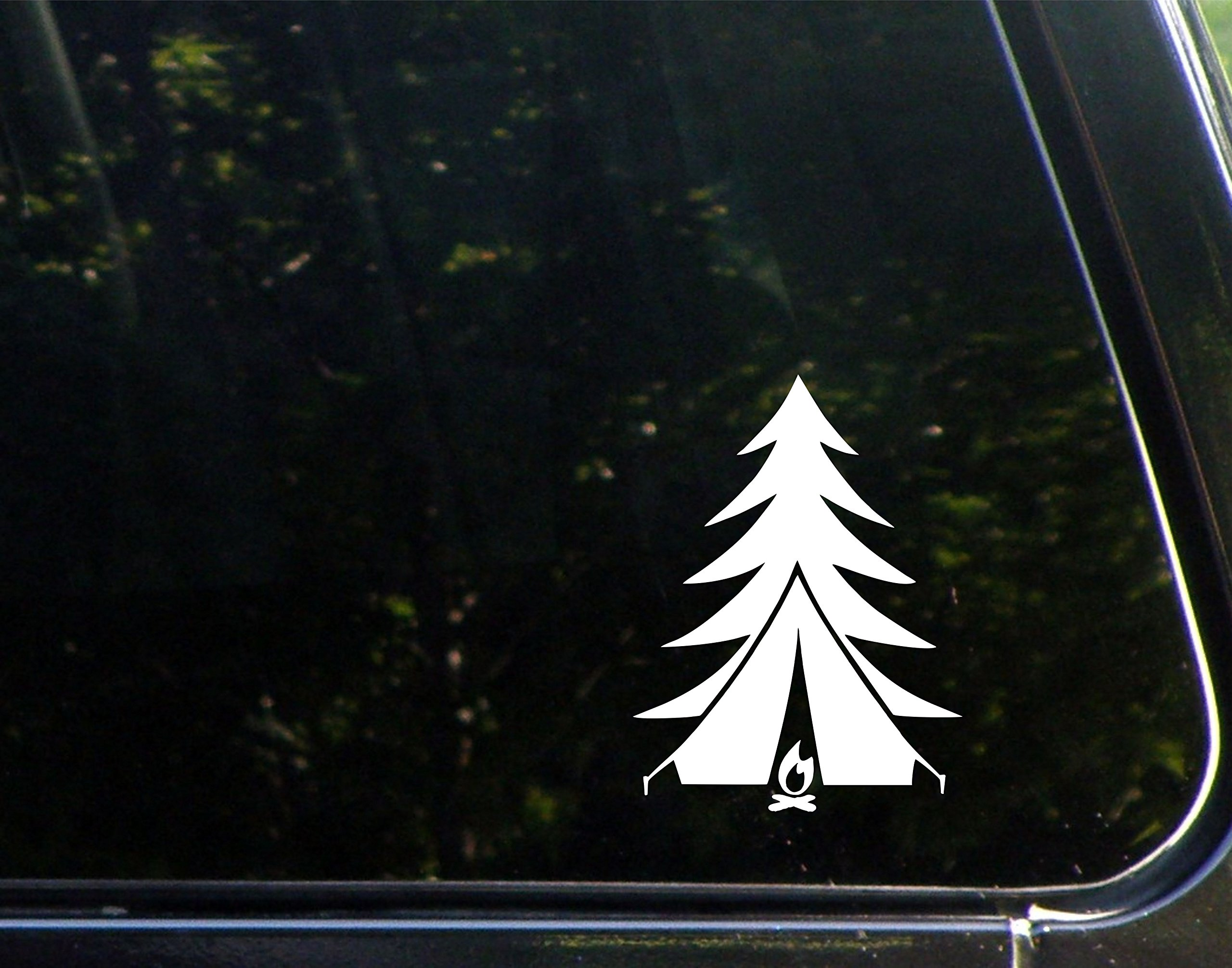 Diamond graphics tree tent fire 5 x 3 3 4 die cut decal bumper sticker for windows cars trucks laptops etc