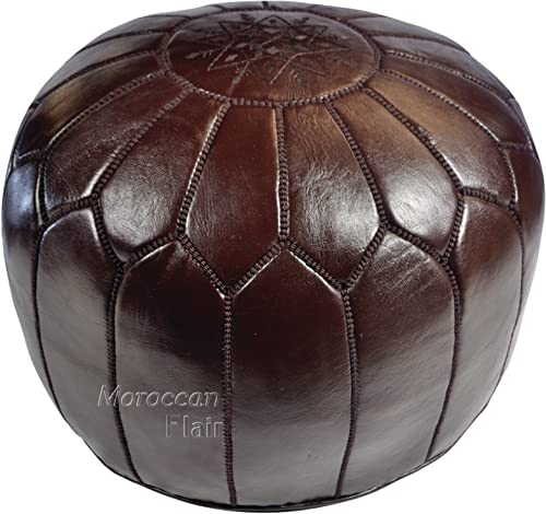 Moroccan Flair | Genuine Handmade Moroccan Leather Pouf | Bedroom Living Room Round Ottoman | Authentic Goat Skin Leather | Eco-Friendly Materials | 20 x 20 x 14 | Chocolate Brown