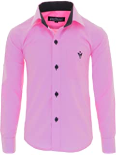 fa44a3547d0b6e GILLSONZ A7vDa Kinder Party Hemd Freizeit Hemd bügelleicht Lange Arm mit 10 Farben  Gr.86Bis158