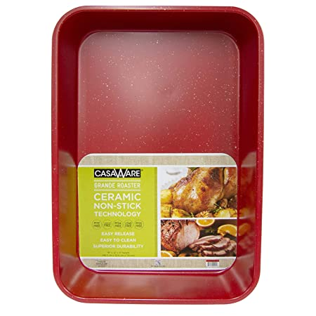 casaWare Grande Lasagna Roaster Pan 18 x 12 x 3-Inch – Extra Large, Ceramic Coated NonStick Red Granite