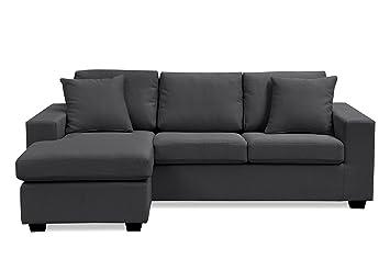 Agreable Furniture R Fanilife Canapé Du0027angle Reversible 3 Places Dossier Haut Mousse  HR Confortable En