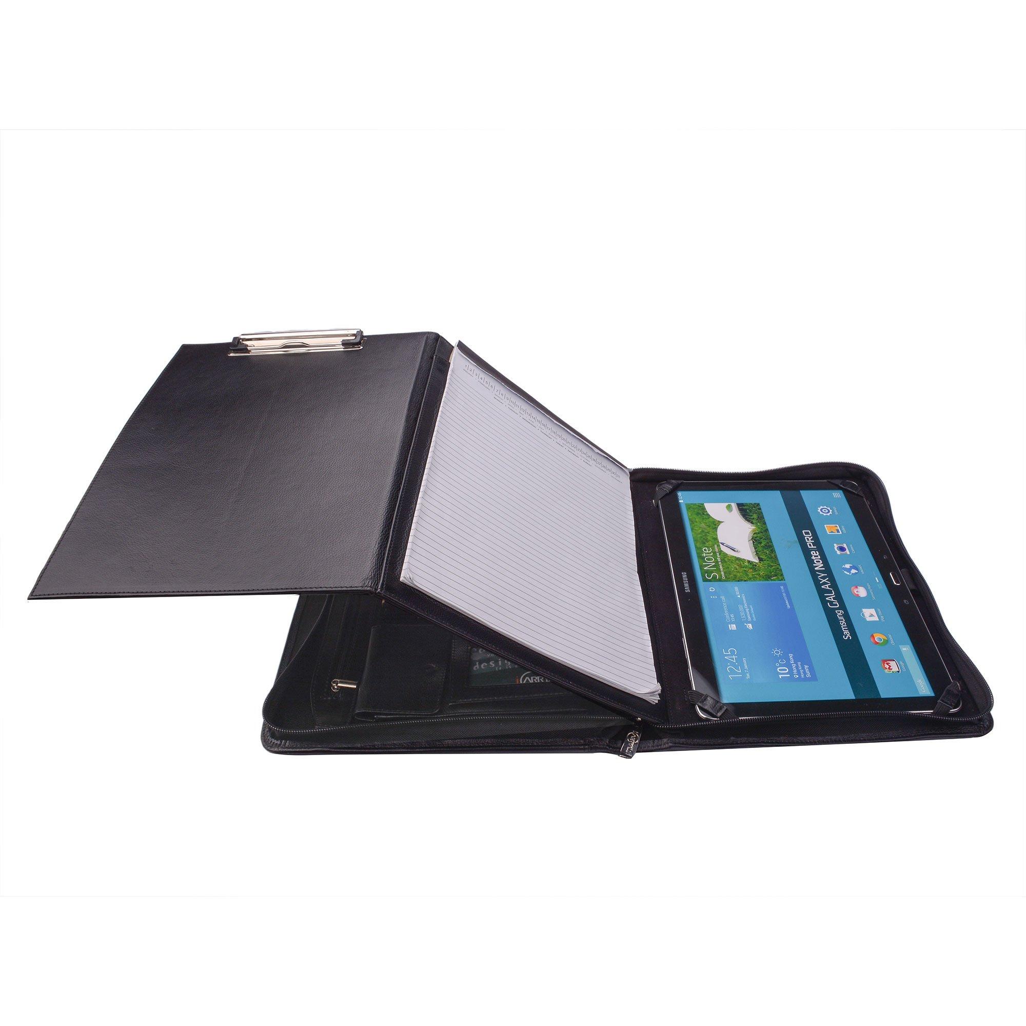 Premium Leather Organizer Padfolio with Folding Center Panel, for SamsungGalaxyNotePro12.2,Black
