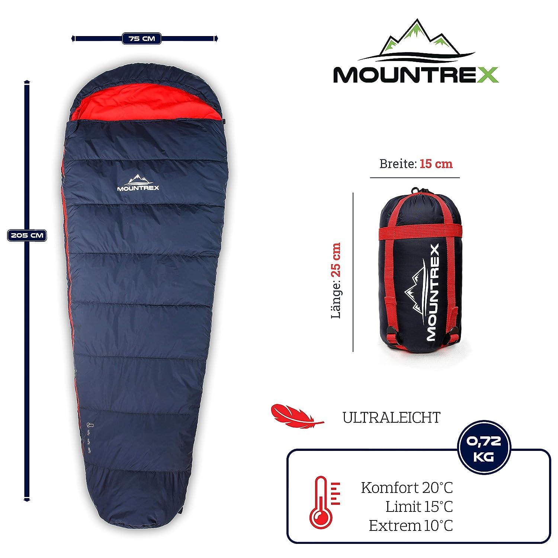205x75cm 720g Koppelbar Mumienschlafsack Reise oder Festival f/ür Camping MOUNTREX/® Schlafsack Kleines Packma/ß /& Ultraleicht | Kompakt Warm und Leicht | Outdoor Sommer Schlafsack