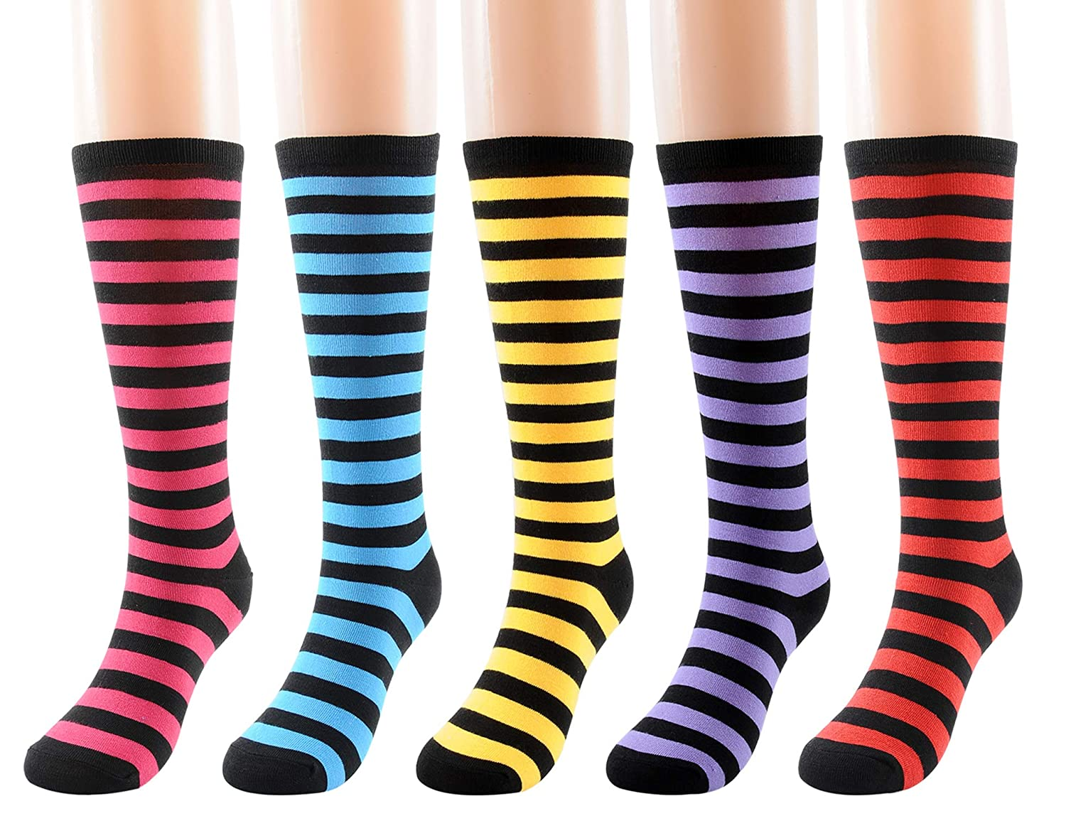FULIER Winter Women's Knee Hight 5 Pack Colorful Fashion Cotton Dress Crew Socks