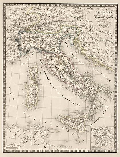 Amazon Com 1850 World Atlas Carte De L Italie Ancienne Inset