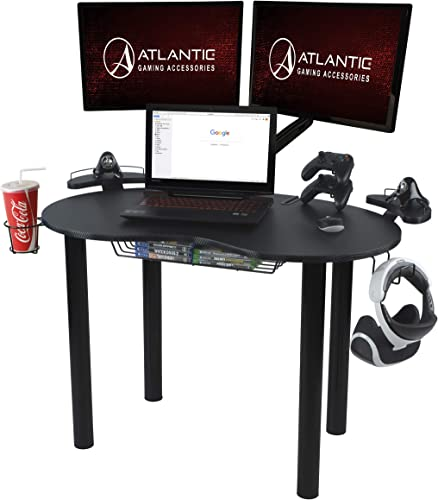 Atlantic Gaming Original Gaming Desk – Eclipse Space Saver, Controller Headphone Storage, Speaker Shelves, Carbon Fiber Desktop
