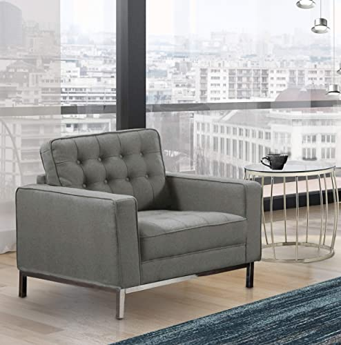 Iconic Home Draper, Club Chair, Grey