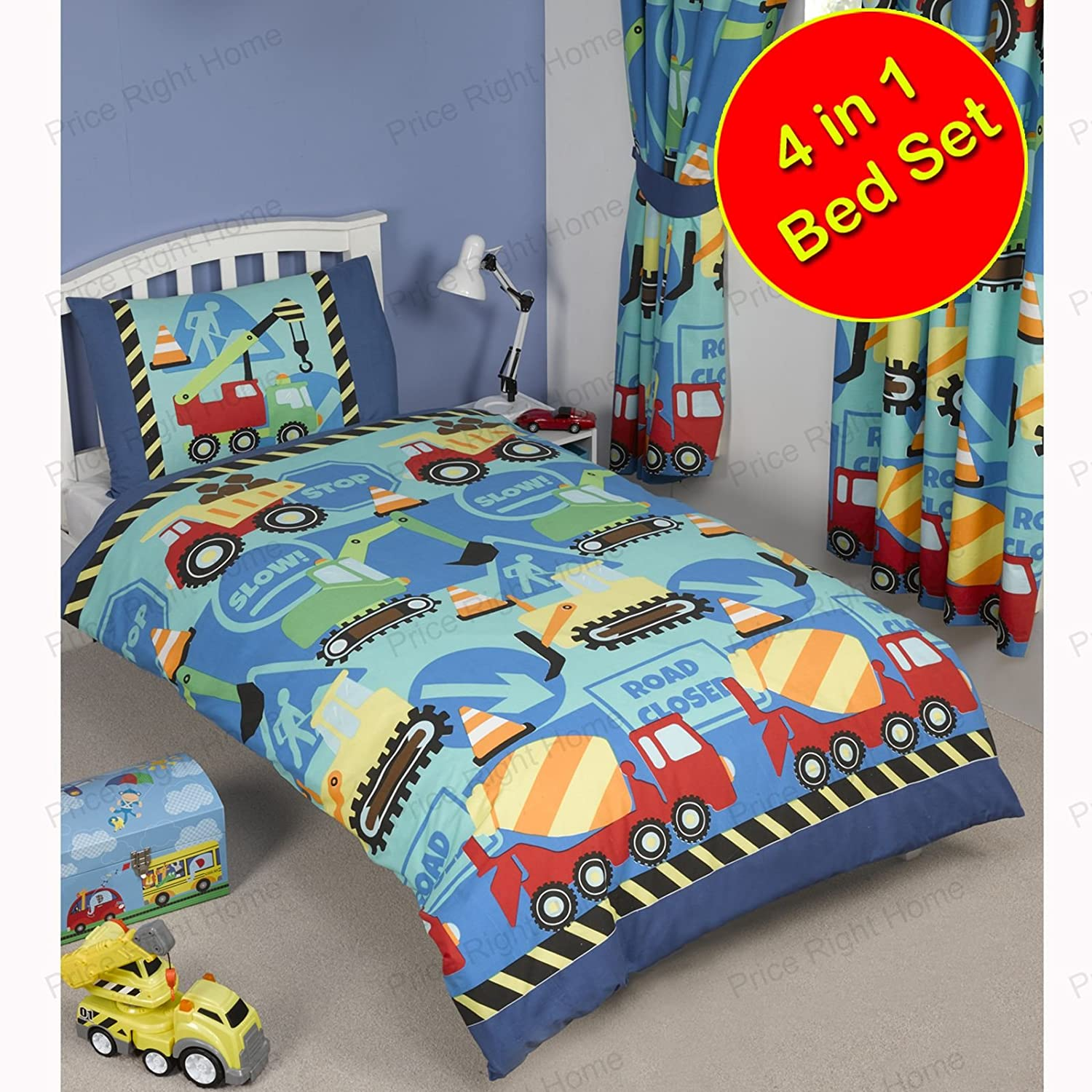 Construction Time 4 in 1 Junior Bedding Bundle (Duvet, Pillow, Covers) Rapport