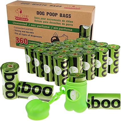 Dog Poop Bags Biodegradable 360-Count Dog Waste Bags Environment Friendly Unscented Bag with Dispenser and Leash Clip (24 Rolls / 360 Count)