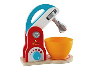 Toy Chest Wooden Kitchen Food Mixer Toy - Playfully Delicious Mighty Mixer - Colorful Pretend Play Cookie Baking Mixer Set - Wooden Play Kitchen Set Toys for Kids Preschoolers