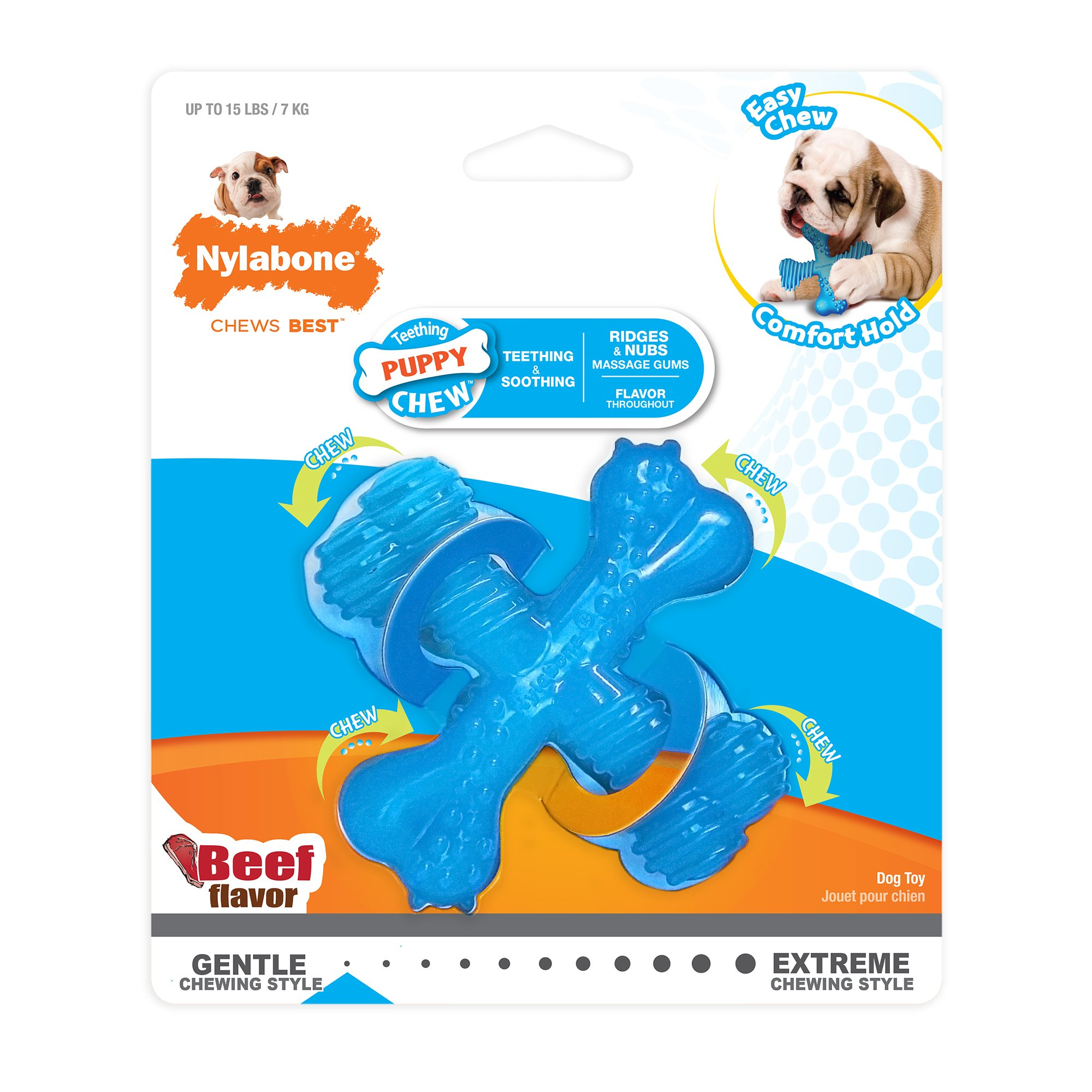 Nylabone Puppy Chew Gentle Chewing Puppy X Bone Small Beef Flavored Chew Toy, Small/Regular, Blue, Model:NPX200P
