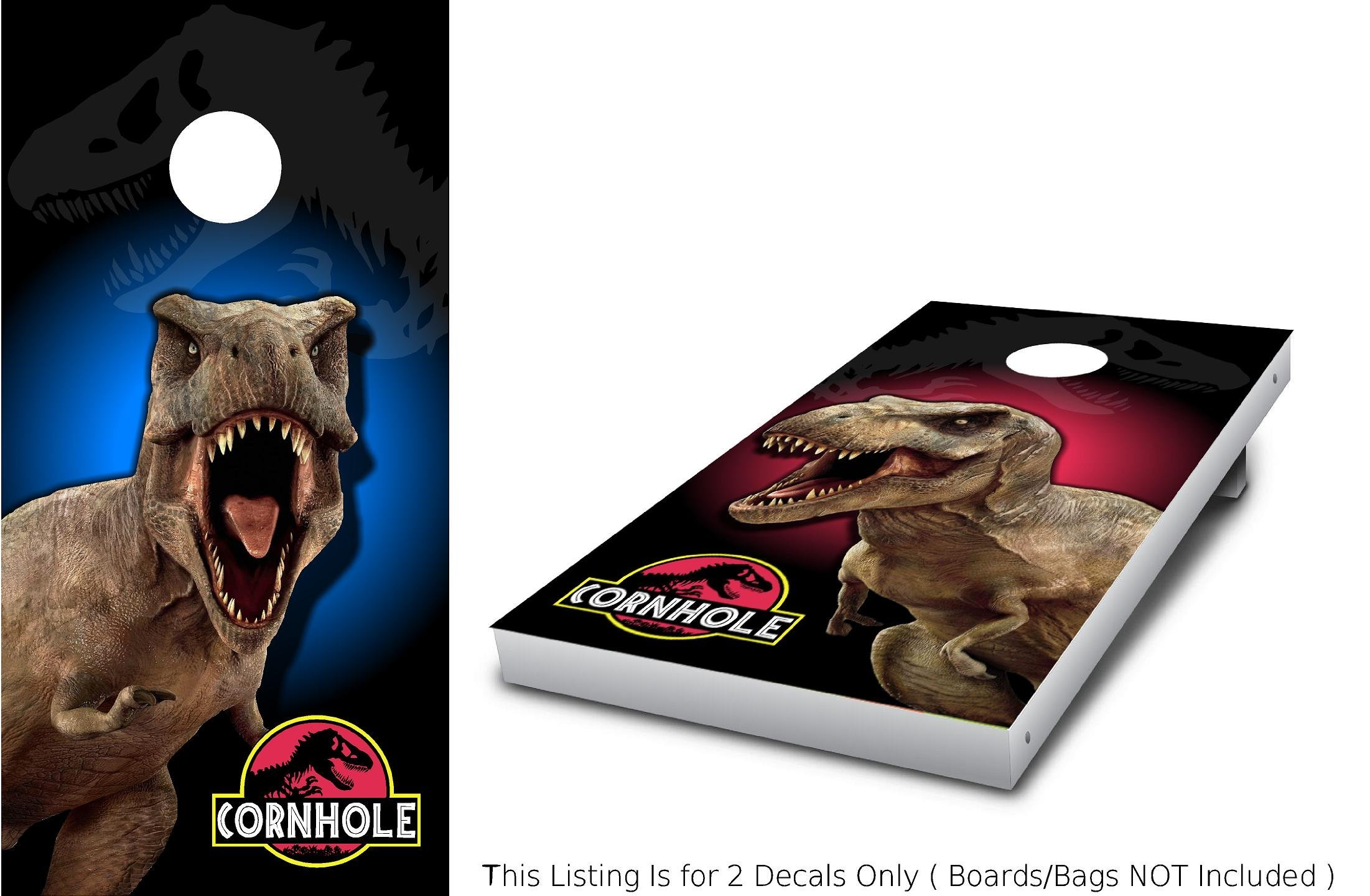 Stickit Graphix T-REX Corn Hole Wrap Set! 2X Decals (24'' x 48'') Jurassic Dinosaur World Red vs Blue Graphics for Cornhole baggo Bag Toss Boards Game