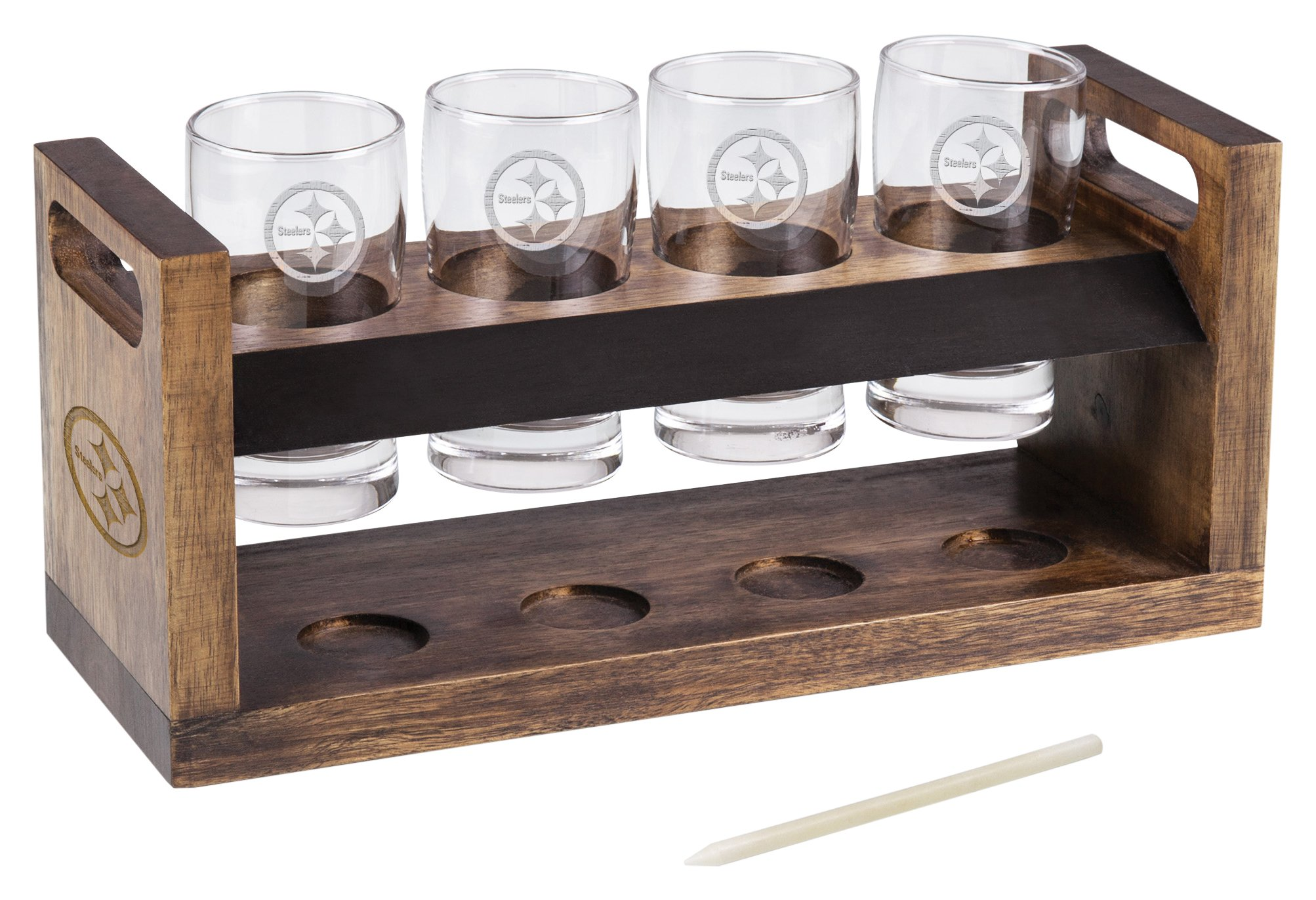 PICNIC TIME NFL Pittsburgh Steelers Craft Beer Four Glass Tasting Set