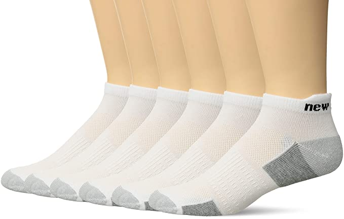 0bc1609fcf2b7 New Balance Men's 6 Pack Performance No Show Socks with Tab, White, Shoe  Size