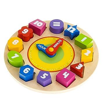 Tooky Toy Kinderspielzeug Lernuhr mit 12 verschiedenen Steck-Formen aus Holz ab Holzspielzeug Steckspiele