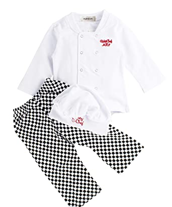 ec01526fd Amazon.com: stylesilove Baby Boy Girl Unisex Cotton Cook Chef Costume,  Pants and Hat 3-pc: Clothing