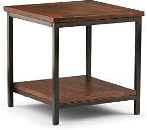 SIMPLIHOME Skyler Solid Mango Wood and Metal 22 inch wide Square Modern Industrial End Side Table in Dark Cognac Brown with Storage, 1 Shelf, for the Living Room and Bedroom