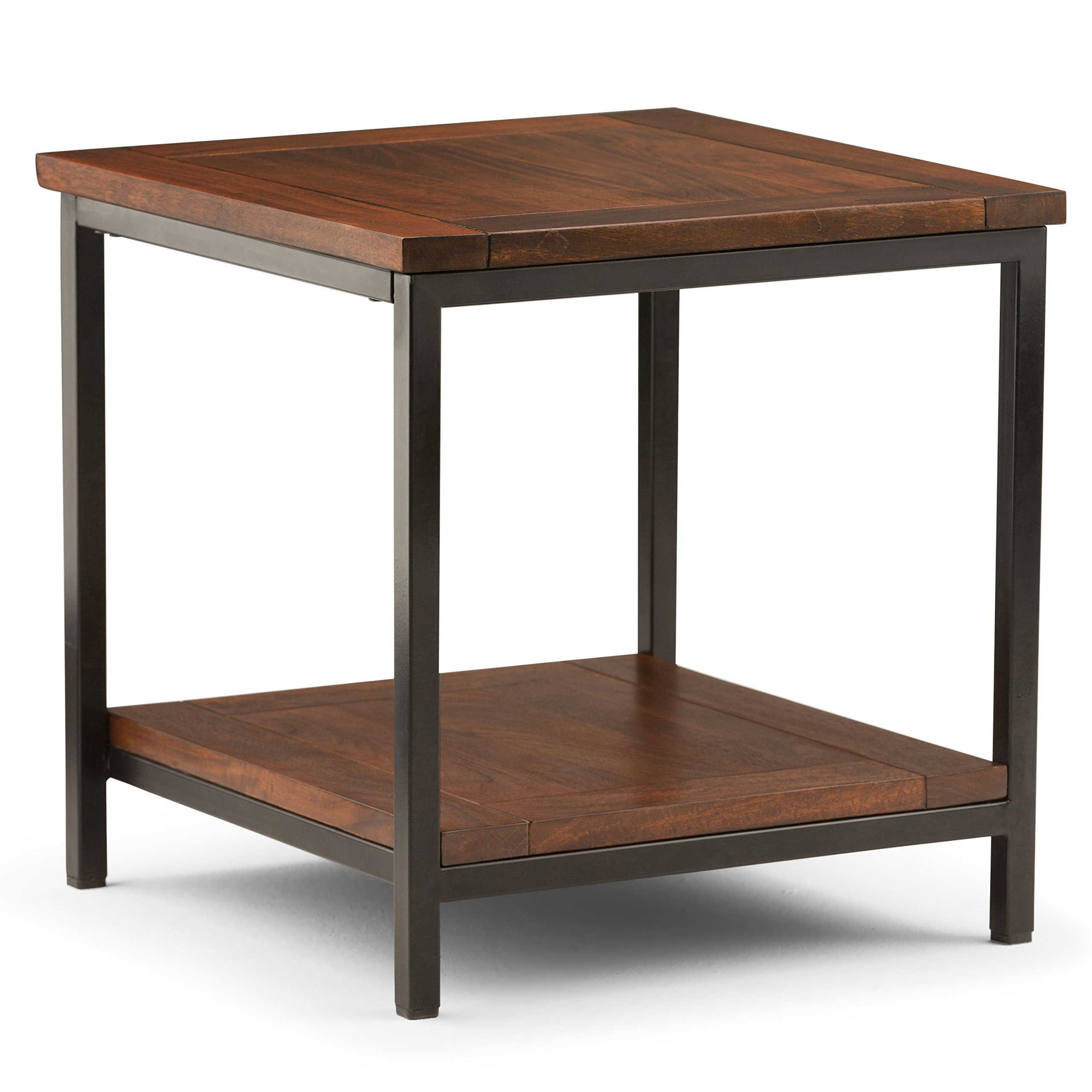 Simpli Home 3AXCSKY-03 Skyler Solid Mango Wood 22 inch Wide Square Modern Industrial End Side Table in Dark Cognac Brown by Simpli Home